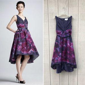 Neiman Marcus Lela Rose purple floral silk dress